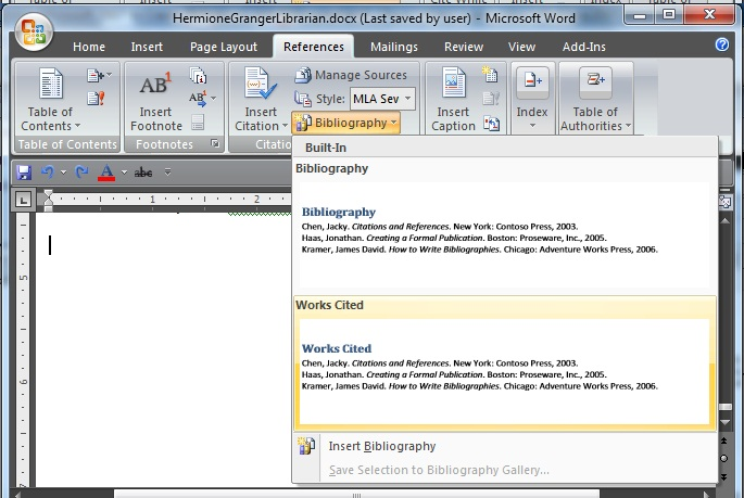 creating a bibliography or works cited page