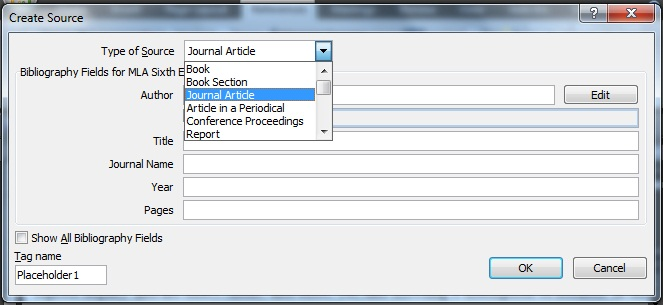 Using microsoft word to create references and bibliographies0 your source information click ok to save the information about the source this information can now be used to create in text citations bibliographic ccuart Choice Image