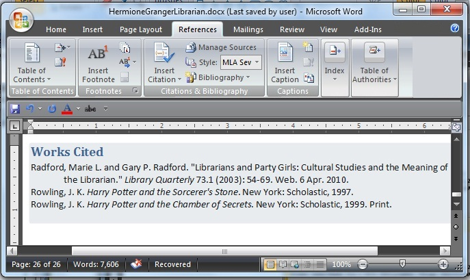please note that you may have to change the format of the title of the works cited page or bibliography microsoft does not use a standard heading for these