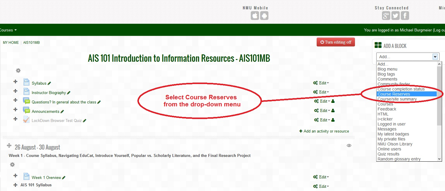 Select Course Reserves Block